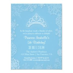 Elegant Winter Snow Princess Girls Birthday Party Invitation