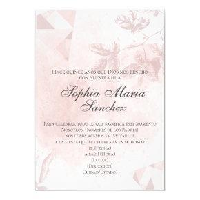 Elegante rosa oro rosa floral español fraseología invitation