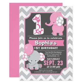 Elephant 1st Birthday Girl Invitations