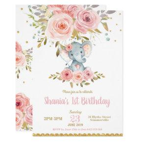 Elephant 1st Birthday Invitation Girl Pink Floral