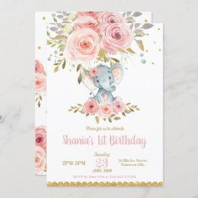 Elephant 1st Birthday Invitation Girl Pink Floral