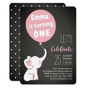 Elephant 1st Birthday Party Invitation for Girl