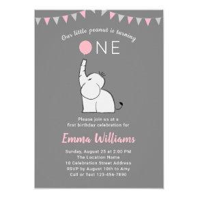 Elephant 1st Birthday Party Invitations - PINK GRAY