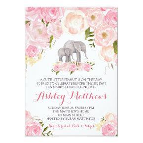Elephant Baby Shower, pink floral Invitation
