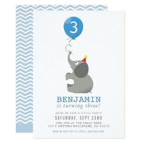 ELEPHANT & BALLOON cute birthday party invite blue