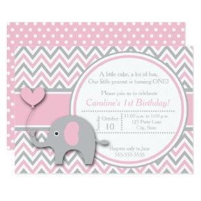 Elephant Birthday Invitation, Pink and Gray Card