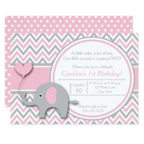 Elephant Birthday Invitations, Pink and Gray Invitations