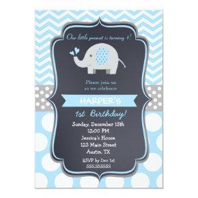 Elephant Birthday Party Invitations Boy