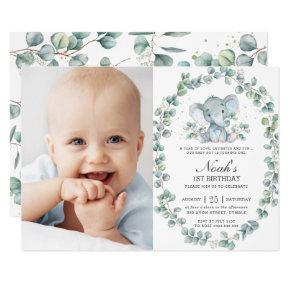 Elephant Eucalyptus Greenery Boy Birthday Photo Invitation