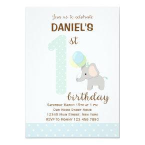 Elephant First Birthday Invitations (Blue)