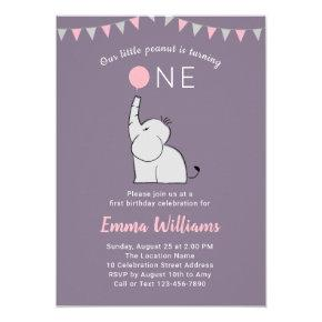 Elephant First Birthday Party Invitations for Girl