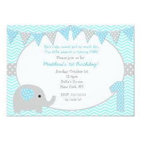 Elephant First Birthday Party Invitations