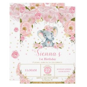 Elephant Floral Birthday Party Invitation Girl
