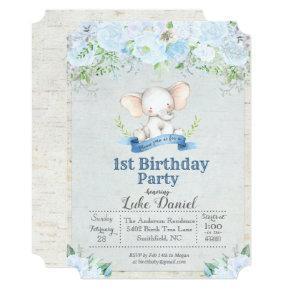 Elephant Floral Boy 1st Birthday Party Invitations