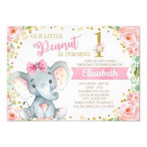 Elephant Girl First Birthday Party Invitation