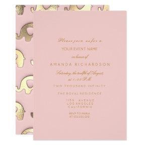 Elephant Glitter Pink Gold Birthday Shower Glass Invitations