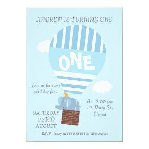 Elephant Hot Air Balloon 1st Birthday Invitations