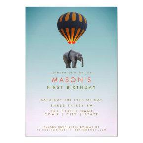 Elephant & Hot Air Balloon   Birthday Party Card