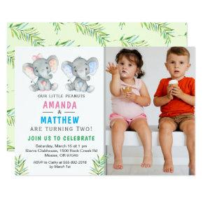 Elephant Little Peanut Twin Boy Girl Birthday Invitation