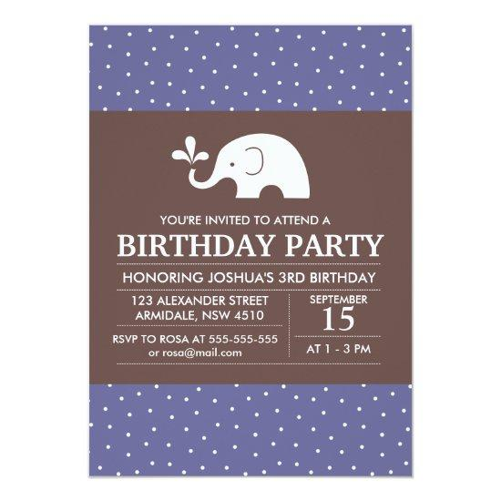 elephant theme birthday boy party invitations candied clouds