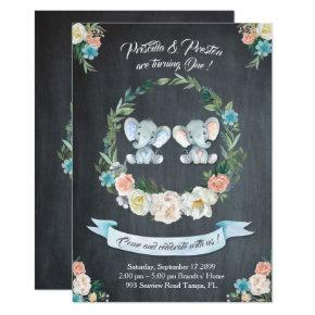 Elephant twin girl-boy Invitations, Floral,Baby 1st Invitations