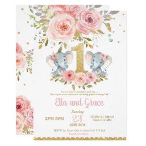Elephant Twin Girls 1st Birthday Invitation