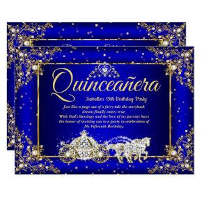 Elite Princess Quinceanera Royal Blue Gold Sparkle Invitation