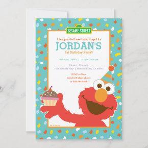 Elmo - Cupcake & Confetti 1st Birthday Invitation