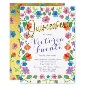 Embroidery Floral Quinceanera Mexican Spanish Invitation
