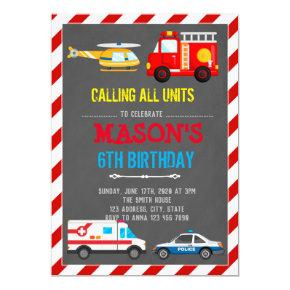 EMERGENCY VEHICLES TRANSPORTATION BIRTHDAY