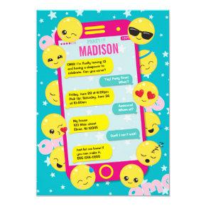 Emoji Birthday Invitation / Cell Phone Text Invite