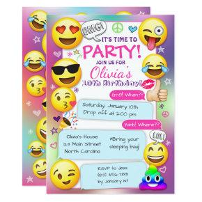 Emoji Birthday Party , Girl Emoji Party Invitation