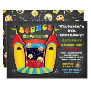 Emoji Chalkboard Bounce House Birthday Party Invitation