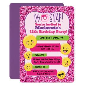 Emoji Girl's Teen Tween Birthday Pink Glitter Invitations
