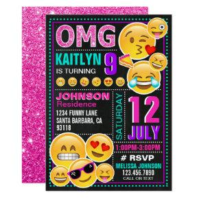 Emoji Pink Glitter Birthday Invitation