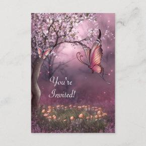 Enchanted Cherry Blossom Garden Butterfly Event Invitation