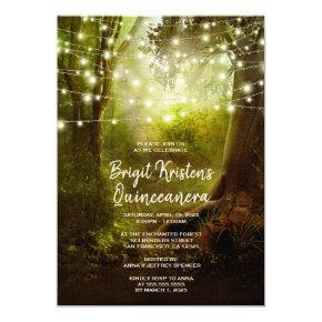 Enchanted Forest String Lights Quinceanera Invite
