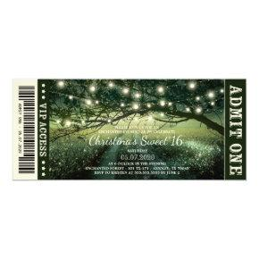 Enchanted Forest String Lights Sweet 16 Ticket Invitation