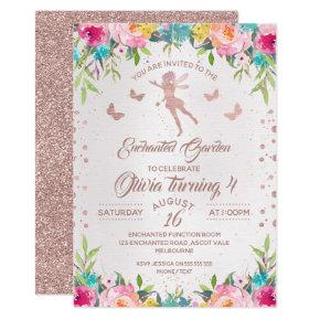 Enchanted Garden Fairy Birthday Invitations