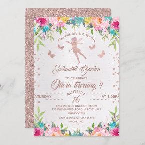 Enchanted Garden Fairy Birthday Invitation