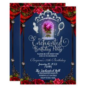 Enchanted Magical Rose Beauty Birthday Party Invitation