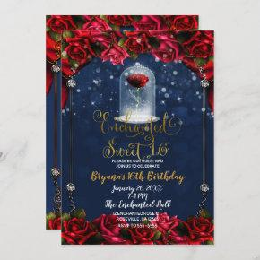 Enchanted Rose Red & Blue Gold Sweet 16 Party Invitation