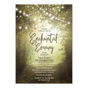 Enchanted Rustic Woodland String Lights Forest Invitation