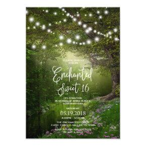 Enchanted Sweet 16 Invitation With String Lights