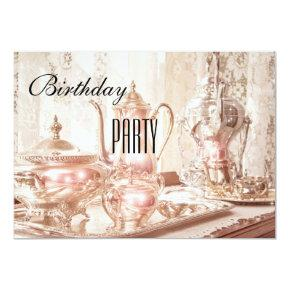English High Tea Birthday Party Invitations