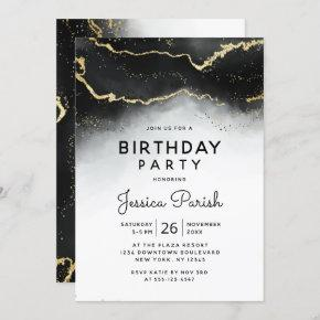 Ethereal Mist Ombre Black Moody Birthday Party Invitation