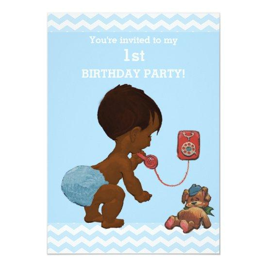 Ethnic Baby Boy On Phone Chevrons 1st Birthday Card Candied Clouds