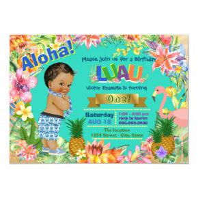 Ethnic Boy Hawaiian Luau Birthday Party Invitation