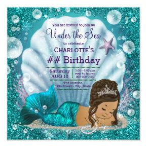 Ethnic Mermaid Under the Sea Birthday Party Card