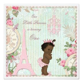 Ethnic Paris Princess Shabby Chic 1st Birthday Card